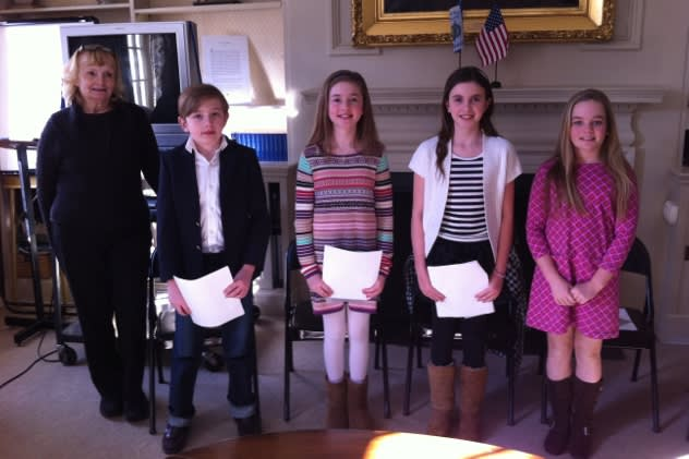 From left: DAR Essay Contest Chairman Sandra MacPherson, with students Ian Holly, Lindsay Smith, Katherine McNamara and Anna Clements.