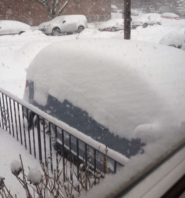 A car buried in the snow on Thursday morning in Yonkers.