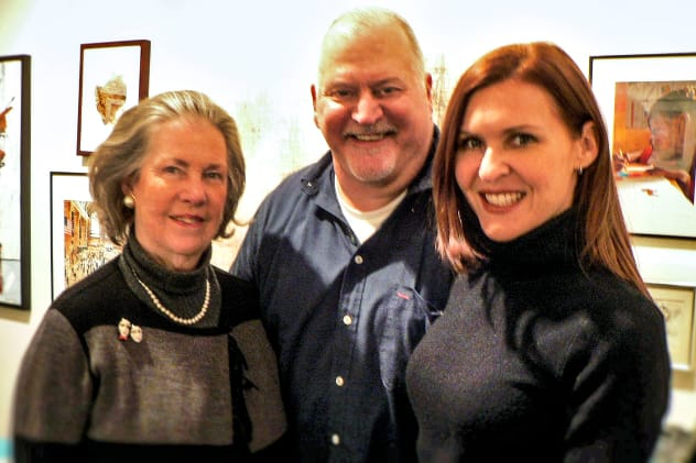 Pictured, from left, are Cherie Burton of Rowayton, president of the Shakespeare board of directors, Steven Yuhasz of Stamford, executive director, and Claire Kelly of New Canaan