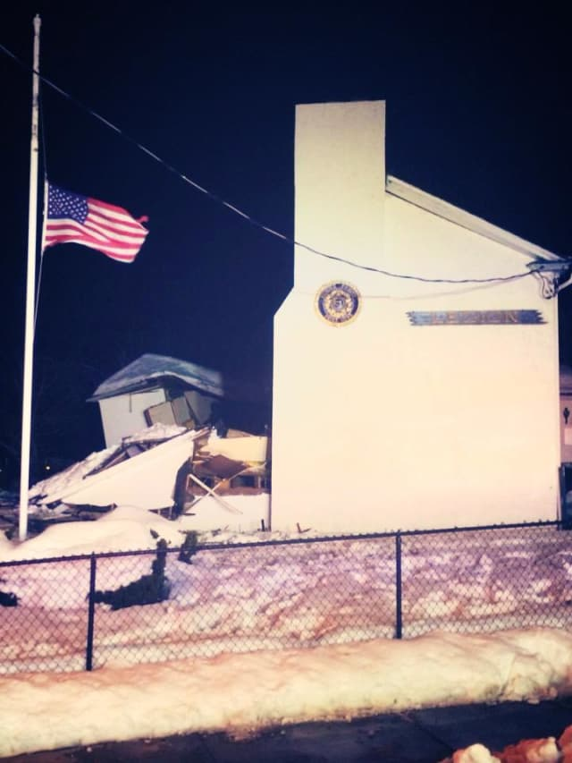 Dobbs Ferry American Legion Post 1048 with its flag at half mast after the building collapsed Friday.