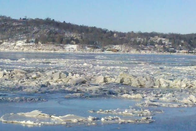 Icy conditions on the Hudson River near the Tappan Zee have kept construction halted since Jan. 21.