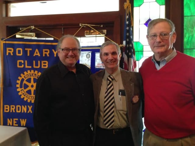 From left, Rotary Program Chair Martin Schulman and President Gregory Tanno of the Bronxville Rotary with Eastchester Town Historian Richard Forliano.