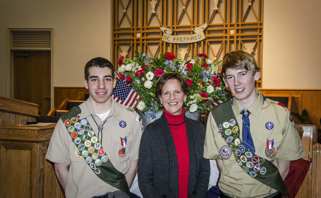From left, Sam Carmona, Westchester County Legislator Sheila Marcotte and Michael Taylor at the Eagle Scout ceremony.