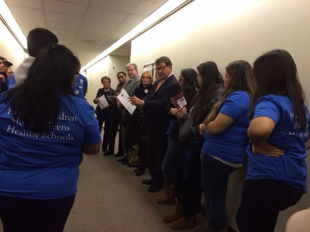 Students from Port Chester Middle and High schools went to Albany to lobby for the continued funding of health centers.