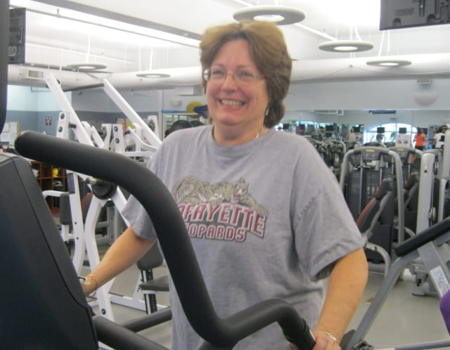 "Cadie Robertson works out at the Rye YMCA as part of the ""100 Day Step Challenge"""