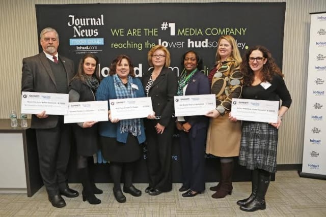 Janet Hasson, president and publisher, Journal News Media Group (center) with (far right) Maria Simonetti, director, Community Health Education & Outreach, Northern Westchester Hospital.
