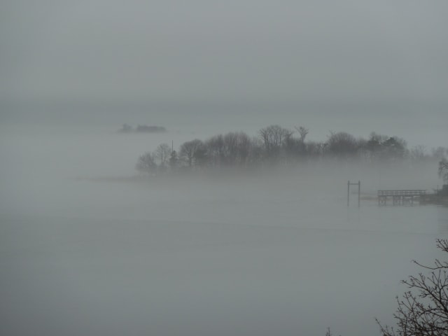 Fog is rolling across Long Island Sound.