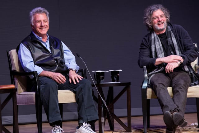 Academy Award-winning actor Dustin Hoffman and director François Girard at a talk at Fairfield University Thursday night.