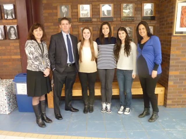 Pictured (from left) are Briarcliff High School Principal Debra French, guidance counselor Nathan Heltzel, Suzannah Bergstein, Ellie Underwood, Caterina Florissi and guidance counselor Meredith Safer.