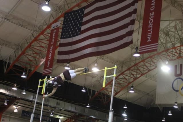 Harrison's James Deutmeyer is setting pole vaulting records at Fordham Preparatory School.