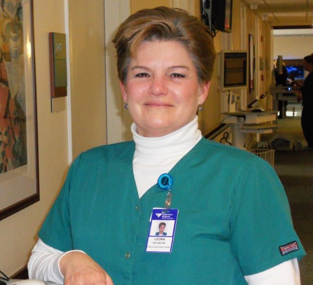 Greenwich Hospital is honoring nurse Leona Estling for quality service toward a patient in the ambulatory surgery unit.