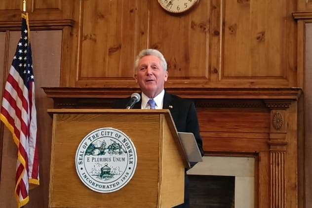 Norwalk Mayor Harry Rilling gives a State of the City address at the end of his first 100 days in office at City Hall on Monday.