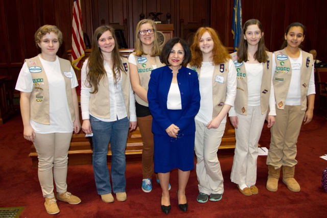 Senator Toni Boucher (Wilton) and Girl Scouts from Ridgefield in the Senate Chamber celebrating Girl Scout day at the Capitol in Hartford.