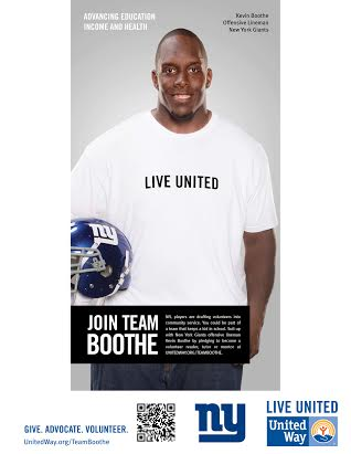 Kevin Boothe of the New York Giants will visit Danbury on Friday, March 21, to help recruit volunteers for the United Way.