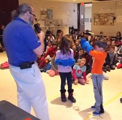 Mr. Paul from the Franklin Institute helped Chappaqua first- graders learn about different states of matter.