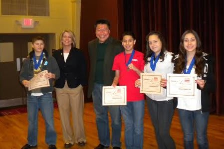 Some winners in the 2013 History Day in Fairfield County greet State Rep. Tony Hwang.
