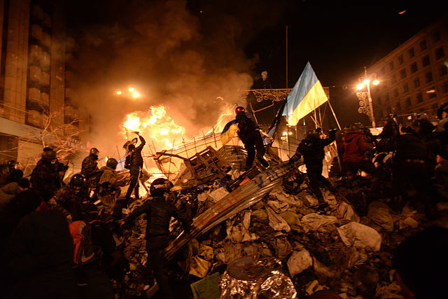 The state flag of Ukraine is carried by a protester to the heart of clashes in Kiev, Ukraine, on Feb. 18.