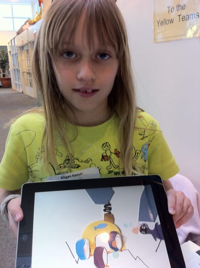 Megan Kaeyer demonstrates her technology savvy at a previous Wilton TechExpo. She uses the iPad to create animated films.