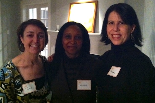Julie Forsyth, Elisa Kristensen and committee member Rachel Martin at the YWCA Darien/Norwalk's Network of Working Women's cocktail party.