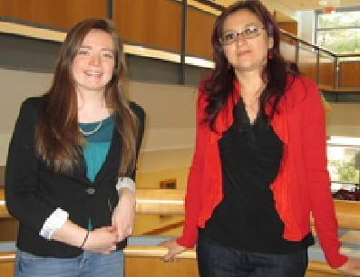 Fairfield University student Katherine Pitz, left, and Amalia Rusu, an associate professor, have been named finalists for the Women of Innovation Awards.