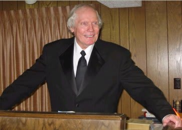 Fred Phelps Sr. at his pulpit prior to his excommunication from Westboro Baptist Church, which he started.