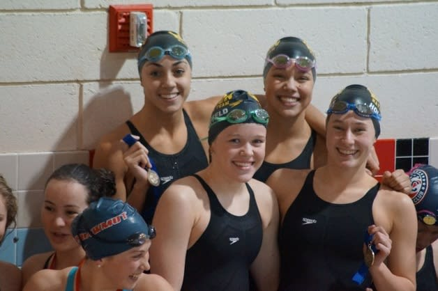 Wilton Wahoo swimmers Ky-lee Perry, Samantha Cheruk, Emma Holmquist and Emma Kauffeld finished third in the 200 free relay.