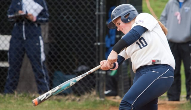 Junior Hana Wright scores a triple for the Pace University softball team.
