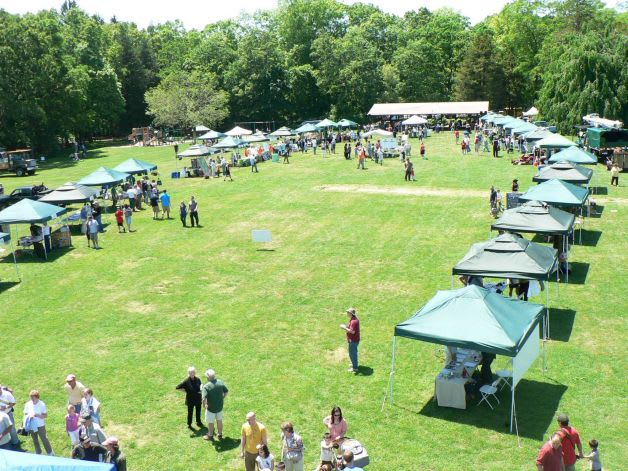 A panoramic view of the lineup of Connecticut Tree Festival booths at Norwalk's Cranbury Park, as seen from a cherry picker.
