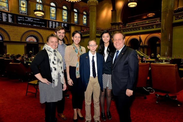 Samantha Berardino, FSW; Daniel Wohl, program specialist, WCYC; Emily Martinez, intern, Assemblyman Thomas Abinanti's office; Jacob Furry; Nina Joung; Assemblyman Thomas Abinanti (D-92nd District).