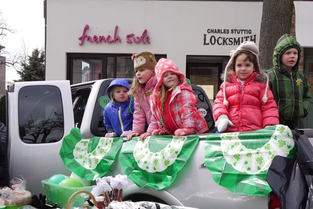 Some of Greenwich's young residents, Sophia Fallon, 4, Ella Wyman, 4, Maddie Ambrogio, 4, Leila Alza, 4, and Emily Caruso, 2, came to watch the St. Patrick's Day parade in 2013.