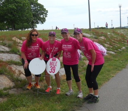 Barbara Paesano (second from right), a 15-year breast cancer survivor, is participating in an Avon Walk for Breast Cancer in May.
