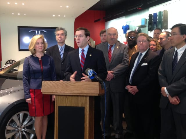 Assemblyman David Buchwald, along with county legislators, mayors, councilmen and executives joined to speak out against the bill.