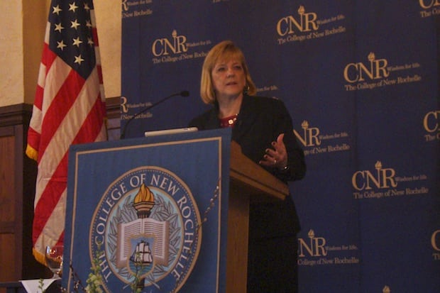 Assistant Secretary for Elementary and Secondary Education Deborah Delisle talks about federal education reform efforts in an appearance at the College of New Rochelle.