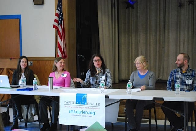 The panelists Claire Moore, Head of Children's Services at the Darien Library, Martha Rhein, representative from Thriving Youth Asset Team, Beth Cherico, DAC Director of Visual Arts, Jill Morton, art teacher at Royle School, and Justin Davis, fi