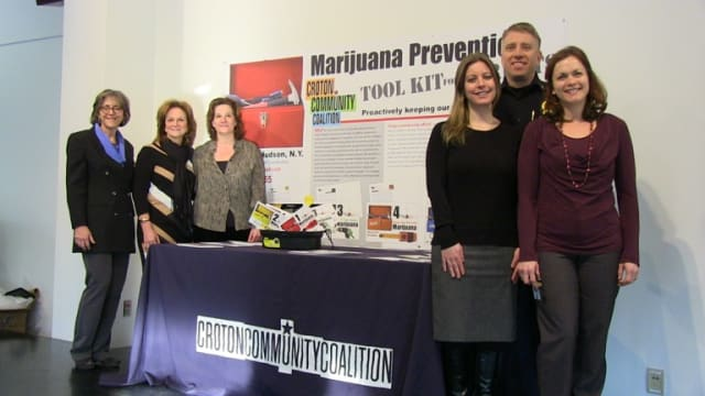 HVGD owner Janeen Violante, far left, with members of the Croton Community Coalition, pictured with the winning design.