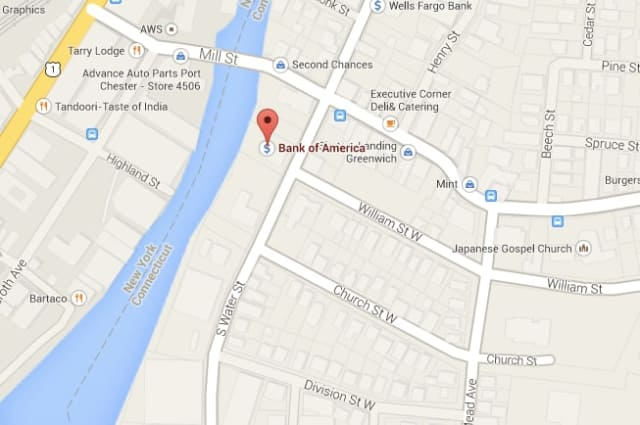 A bomb squad is investigating a suspicious bag outside a Bank of America in Greenwich.