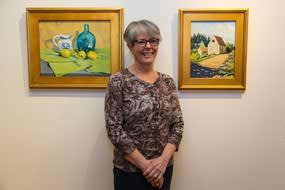 Former president of the Ridgefield Guild of Artists Mary Louise O'Connell is displaying her exhibit of oil paintings, entitled My Favorite Things, in the upstairs portion of the Ridgefield Guild of Artists gallery.