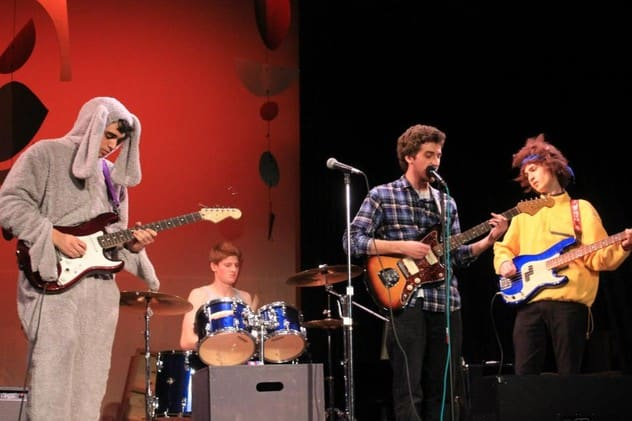 "Hastings rock band Primate House, from left, Devin Gilbert, Jeb Polstein, Chris Jones and Josh Govier, won the 2013 ""Battle of the Teen Bands."""