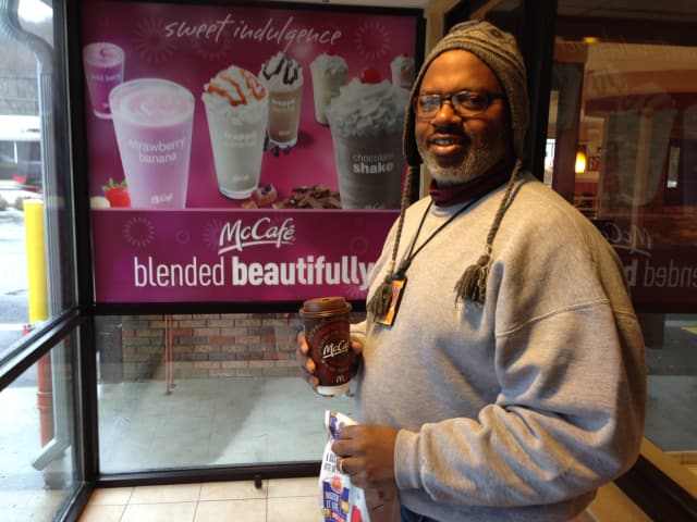 Carlton Evans bought a large coffee at McDonalds Monday, but said he will buy the free small coffee the next chance he gets.