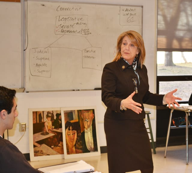 State Rep. Brenda Kupchick speaks to Fairfield Warde students about her role in state government.