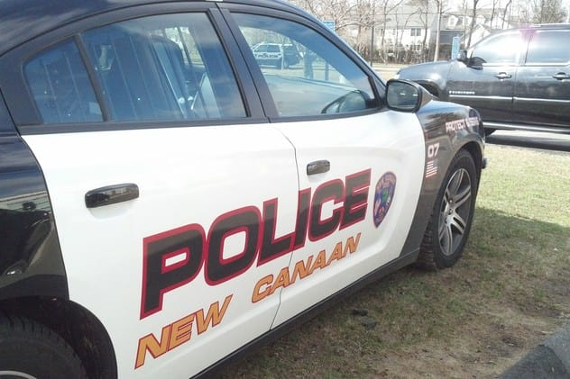 New Canaan Police issued a verbal warning to a pedestrian who was struck by a car while trying to cross Park Street on Thursday.