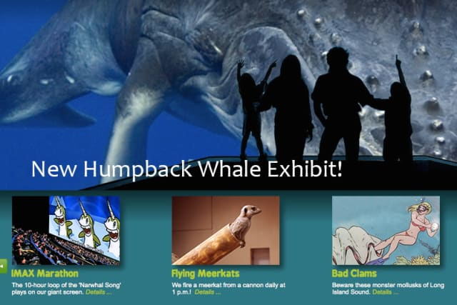 April Fools! The Maritime Aquarium is featuring a fake-out homepage on Tuesday.