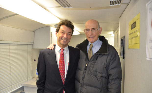 Dr. Robert Shapiro (left) and Dr. Alfred Wolfsohn (right) on board the AmeriCares mobile clinic.