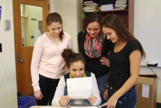 Eastchester students with Elie Wiesel's letter.