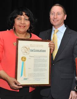 Westchester County Executive Rob Astorino honored Mae Carpenter after she was named a recipient of the 2014 Women's Hall of Fame Award from the Women's Research and Education Fund.