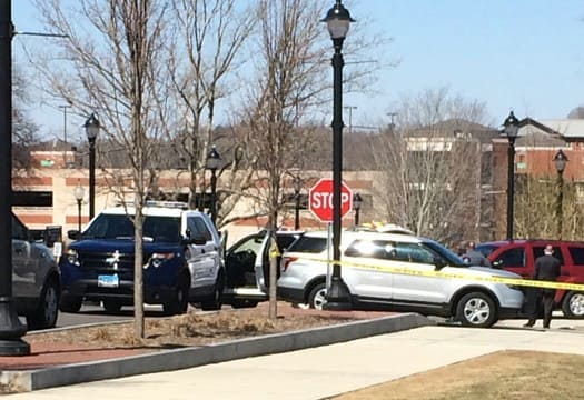 Police taped off the area surrounding the Tasker Building on Hillside Road on the UConn campus.
