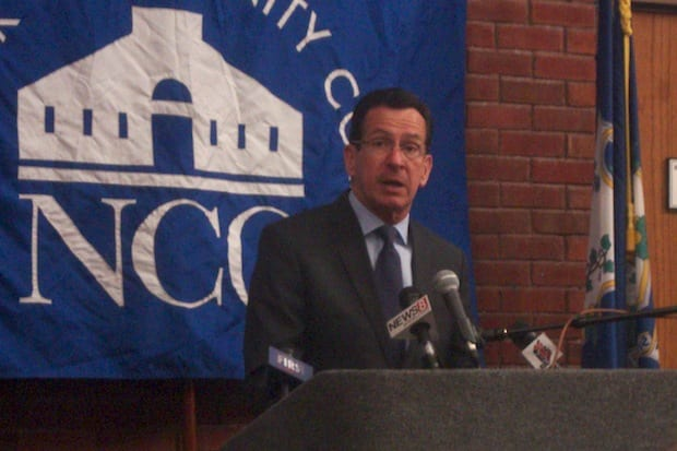 Gov. Dannel Malloy announces the state's first Pathways in Technology Early College High School at Norwalk Community College on Friday.