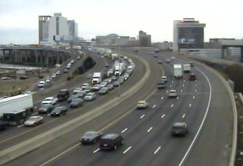 Traffic is at a standstill on I-95 at Pembroke Street in Bridgeport after a crash involving a truck closed the highway.