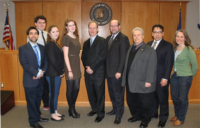 From left, James Ward, senior, Carlos Daniel Villamayor Ledesma, sophomore, Nadya Lani Hall, junior, Sara Moriarty, junior, John Codman III, Trustee, William Hanauer, Ossining Mayor, Robert Daraio, Manuel Quez and Victoria Gearity, trustees.