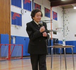 Holocaust survivor Judith Altmann spoke to students at Horace Greeley High School.